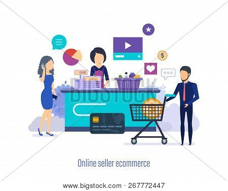 Online Seller Ecommerce. Shopping In Store, Mall, Supermarket.