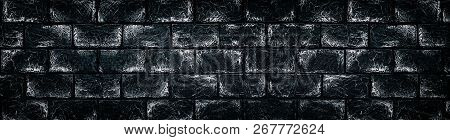 Black And White Brick Wall. Wide Panoramic Texture. Spacious Dark Gray Stone Blocks Masonry Backgrou