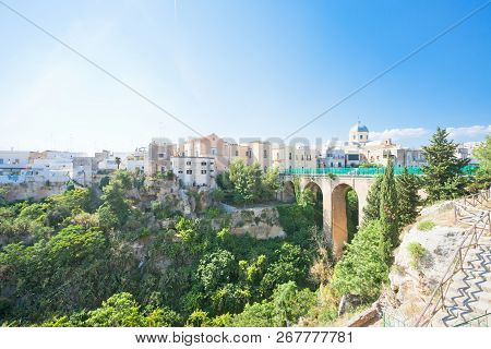 Massafra, Apulia, Italy - The Viaduct Road Leading To The Old Town Of Massafra