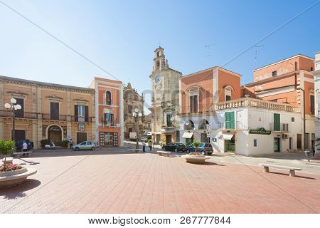 Massafra, Apulia, Italy - May 31, 2017 - Historic Marketplace Within The Old Town Of Massafra