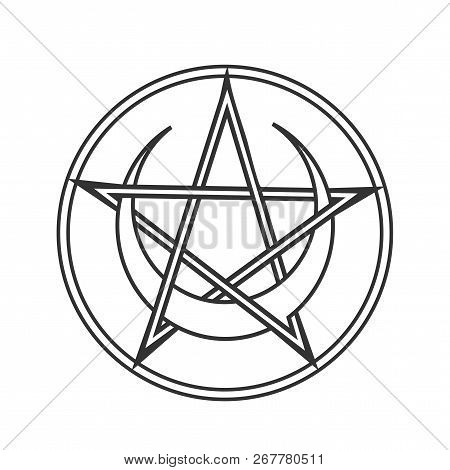 Vector for Wiccan and Occult Esoteric Community: Pentacle or pentagram of Wicca with crescent moon isolated. Wiccan pentacle symbol could also used as Satan Devil Star. Mystic circle pentagram icon. poster