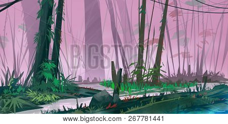 Jungle Rain Forest. Realistic Style. Video Game Digital Cg Artwork, Concept Illustration, Realistic