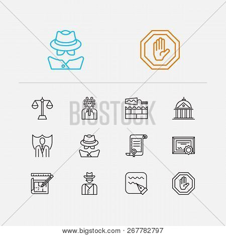 Court Icons Set. Detective And Court Icons With Certificate, Court And Cowboy. Set Of Drawing For We