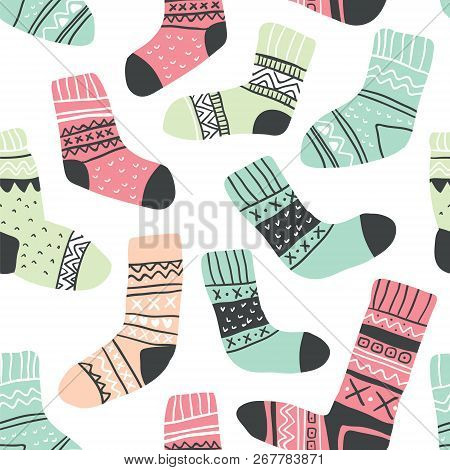 Autumn Vector Seamless Pattern With Cute Colorful Socks On White. Funny Doodle Socks With Different
