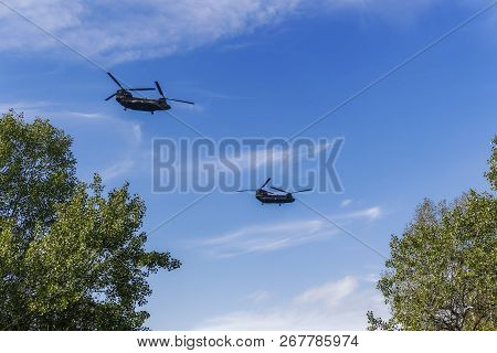 Thessaloniki, Greece - October 28 2018: Greek Air Force Chinook Helicopters Flying. Boeing Ch-47 Chi