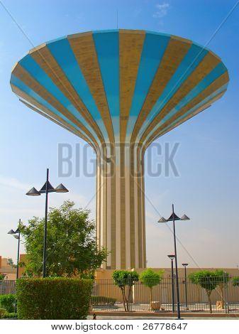 Striped water tower in Riyadh, Saudi Arabia