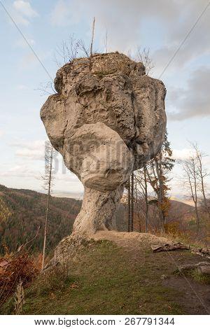 Amazing Rock Formation Named Budzogan Bellow Zibrid Hill Near Rajecke Teplice Health Spa In Sulovske