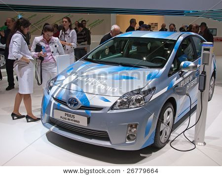 GENEVA - MARCH 8: The new Toyota Prius Plug-In Hybrid car on display at the 81st International Motor Show Palexpo-Geneva on March 8; 2011  in Geneva, Switzerland.
