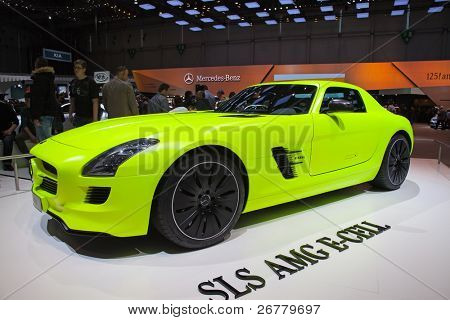 GENEVA - MARCH 8: The Mercedes-Benz SLC AMG E-Cell on display at the 81st International Motor Show Palexpo-Geneva on March 8, 2011 in Geneva, Switzerland.