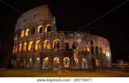 Night view of the Ruins of the colloseum in Rome, Italy