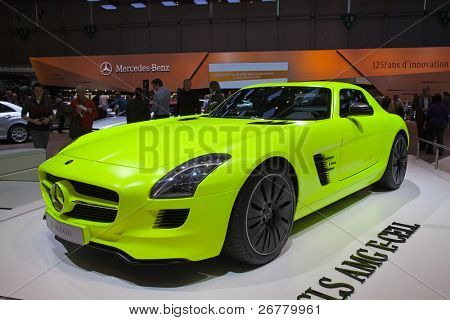 GENEVA - MARCH 8: The Mercedes-Benz SLS E-Cell with hybrid engine on the 81st International Motor Show Palexpo-Geneva on March 8; 2011  in Geneva, Switzerland.