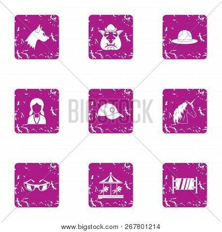 Miniature Icons Set. Grunge Set Of 9 Miniature Vector Icons For Web Isolated On White Background