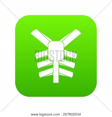 Human Thorax Icon Digital Green For Any Design Isolated On White Vector Illustration