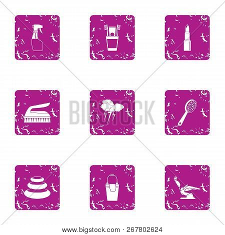 Beauty Parlour Icons Set. Grunge Set Of 9 Beauty Parlour Vector Icons For Web Isolated On White Back