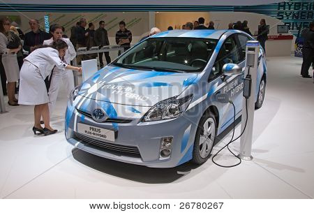 GENEVA - MARCH 8: The Toyota Prius plug-in hybrid preview on display at the 81st International Motor Show Palexpo-Geneva on March 8; 2011  in Geneva, Switzerland.