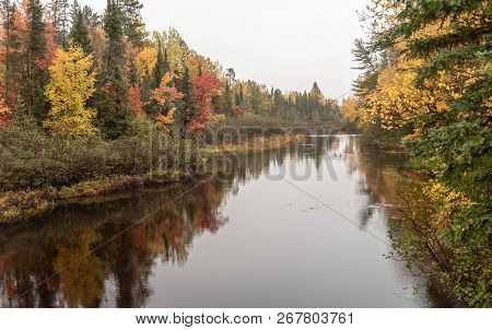 Autumn Reflections On The Wisconsin River On A Beautiful Drive Through The State