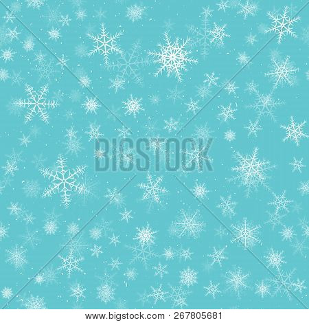 Snowflakes Seamless Pattern. Winter Snow Flake Stars, Falling Flakes Snows And Snowed Snowfall.