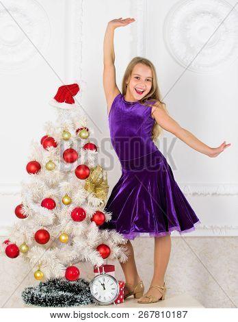Kid Happy Because Holiday Season Arrive. Family Holiday Concept. Girl Velvet Dress Feel Festive Near