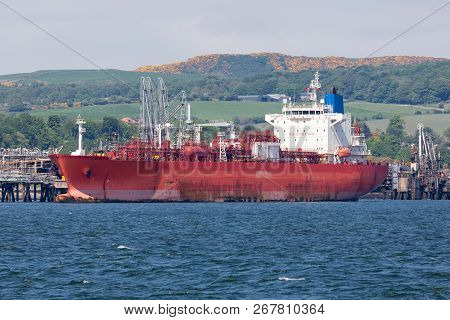 Oil Terminal With Tanker In Firth Of Forth Near Edinburgh