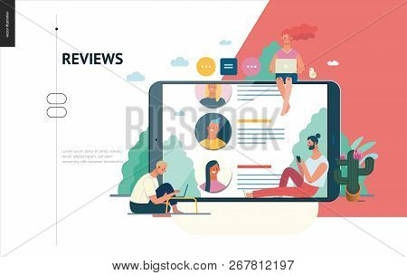 Business Series, Color 1 - Reviews -modern Flat Vector Illustration Concept Of People Writing Review