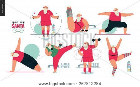 Sporting Santa - Gym Exercises - Modern Flat Vector Concept Illustration Set Of Cheerful Santa Claus