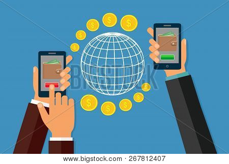 Money Transfer Using Mobile Device, Smart Phone With Banking Payment App. Internet Banking, Contactl