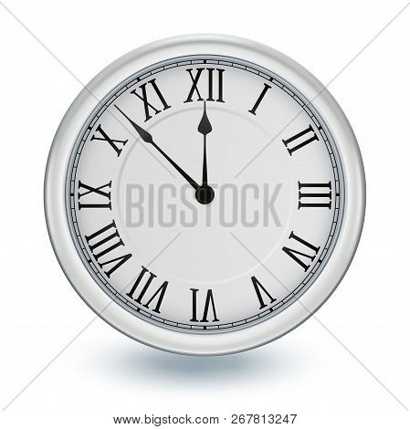Silver Clock, Isolated On White Background, Design Element For New Years Invitation And Greeting Car