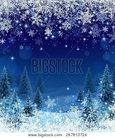 Illustration Of Snowfall And Forest, Background For Christmas And New Year Greeting Cards, And Invit