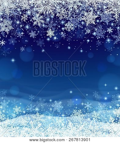 Winter Background With Snowfall, Decoration For Christmas And New Year, And Winter Holiday Season, A