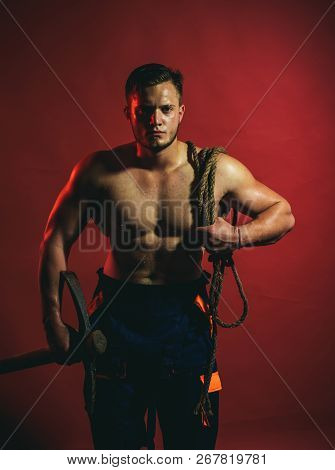 Mining Area Under Construction. Construction Worker Or Man Miner With Mining Equipment. Muscular Man