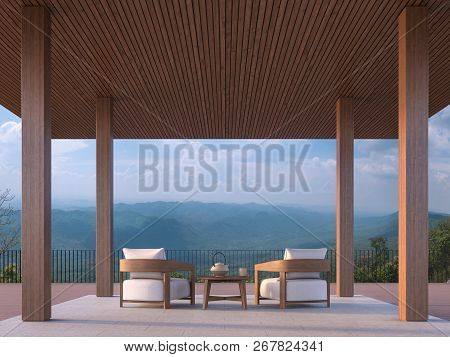 Modern Contemporary Pavilion 3d Render, There Are Concrete Tile Floor.decorate Column And Ceiling Wi