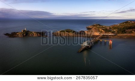 Editorial Swansea, Uk - September 9, 2018: Aerial View Of The Mumbles Pier Which Is In The Middle Of