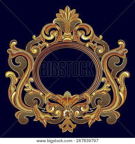Medieval Goldwork Embroidery Vector Oval  Frame. Black Background.