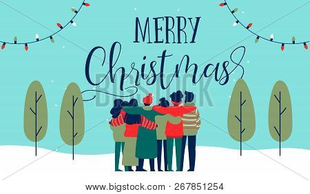 Merry Christmas Greeting Card Illustration Of Young People Friend Group Hugging Together At Holiday