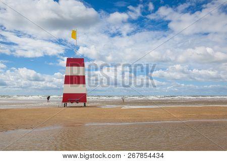 Lighthouse On The Amazing Lakolk Beach After Heavy Rain. This Beach Is  Beach After Heavy Rain, Jutl