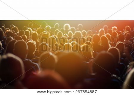 Theater Audience Watching A Performance Isolated On White