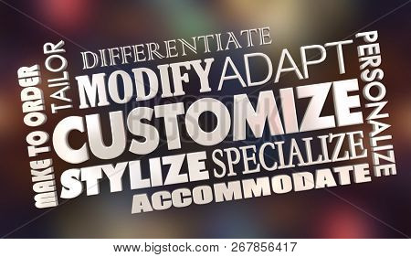Customize Make to Order Personalize Word Collage 3d Illustration