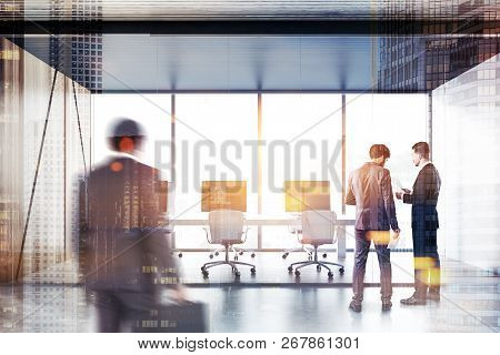 Business People In Open Space Office With Panoramic Windows, Wooden And White Walls, Wooden Floor An