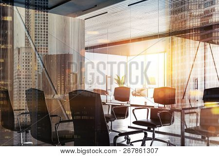 Modern Company Conference Room Interior With Long Table, Glass And Wooden Walls And Concrete Floor.
