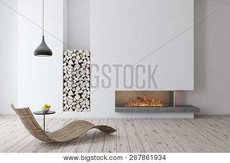Interior Of Modern Living Room With White Walls, Wooden Floor, A Fireplace And Wooden Armchair Stand