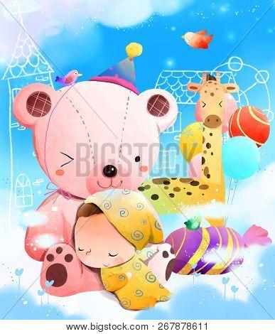 Child sleeping on teddy bear