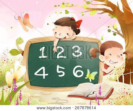 Girls learning numerical value