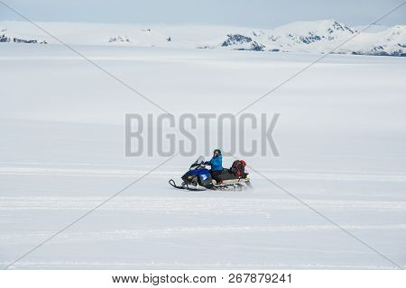 Vatnajokull Iceland - September 22. 2018: Snowmobile Guide At Vatnajokull Glacier
