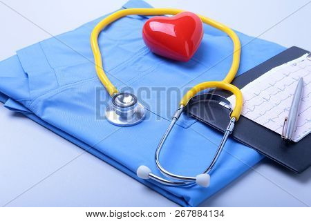 Medical Stethoscope, Patient Medical History List, Rx Prescription, Red Heart And Blue Doctor Unifor