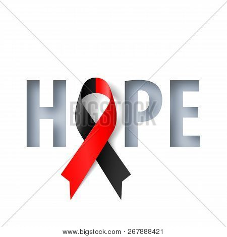 Banner With Hope Lettering And Symbol Of Atheist Solidarity Awareness Realistic Ribbon. Design Templ