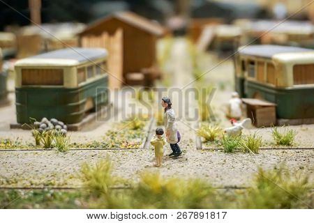 Japanese Miniature Models Of 1800's Ancient Worker Camps And Japanese People In Daily Life. Show In