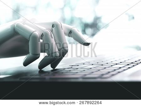 Robot Concept Or Robot Hand Chatbot Pressing Computer Keyboard Enter