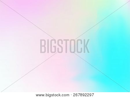 Hologram Vector Fairy Tale Dreamy Background. Rainbow Girlie Iridescent Gradient, Simple Holographic