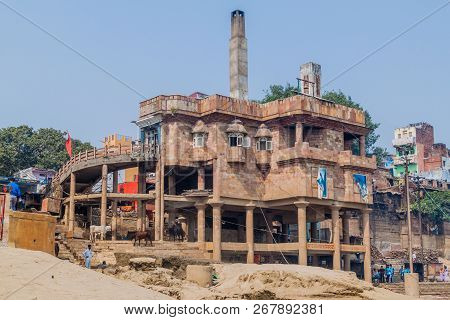 Varanasi, India - October 25, 2016: View Of Electric Crematorium In Varanasi India