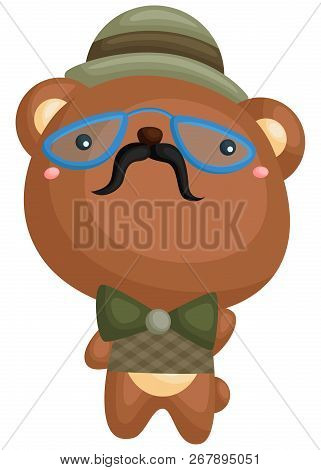 A Vector Of A Cute Bear Wearing Blue Glasses